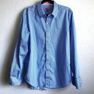 Robert-Graham-Men-039-s-Dress-Shirt-Size-Large-Blue-White-Stripe-Tailored-Fit