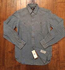 NWT RRL Ralph Lauren Metal Eye Buttons 100% Cotton Long Sleeve Shirt Men's Sz XS