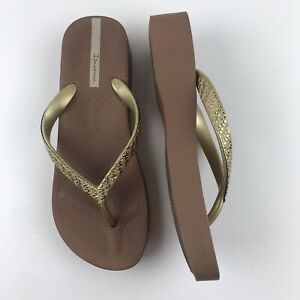 ipanema-women-039-s-Brown-Gold-Platform-flip-flops-slip-on-sandals-Size-8