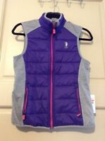 Women's Uspa Polo Vest $44 Gray Purple Size Small S Active Sport Nice Cute