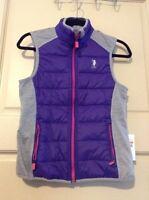 Women's Uspa Polo Vest $44 Gray Purple Size Small S Active Sport Nice Cute