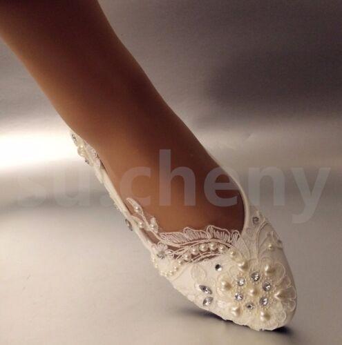 su.cheny White light ivory lace pearl heart rhinestone flat Wedding Bridal shoes