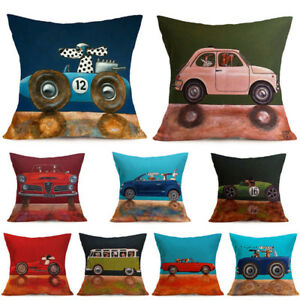 Am-KQ-18Inch-Car-Pattern-Throw-Pillow-Case-Home-Decor-Sofa-Waist-Cushion-Cover