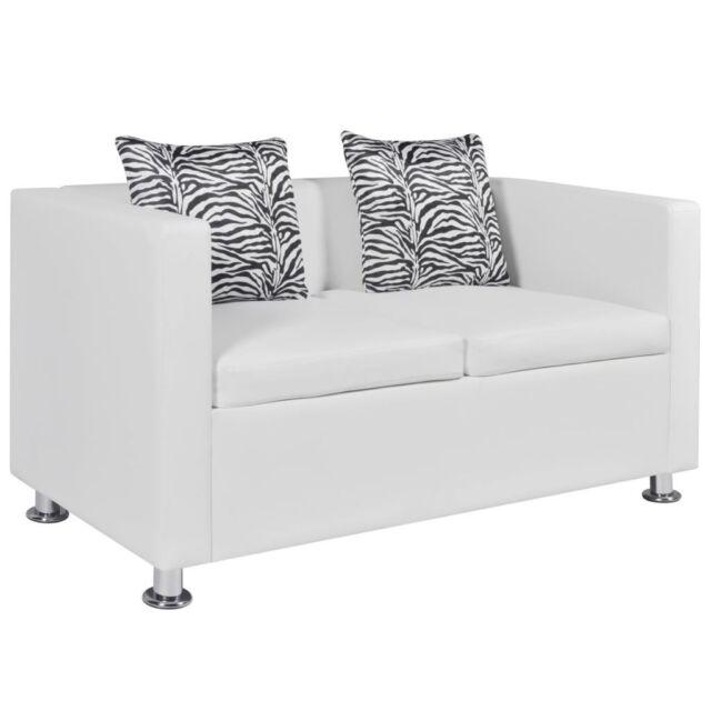 vidaXL Sofa 2-Sitzer Luxus-Kunstleder Loungesofa Couch Sitzmöbel mit Kissen weiß