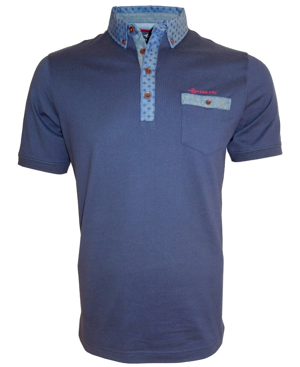 Baileys Poloshirt in dunkelblau mit Button Down Jeanskragen Gr. M bis 4XL  | Moderner Modus
