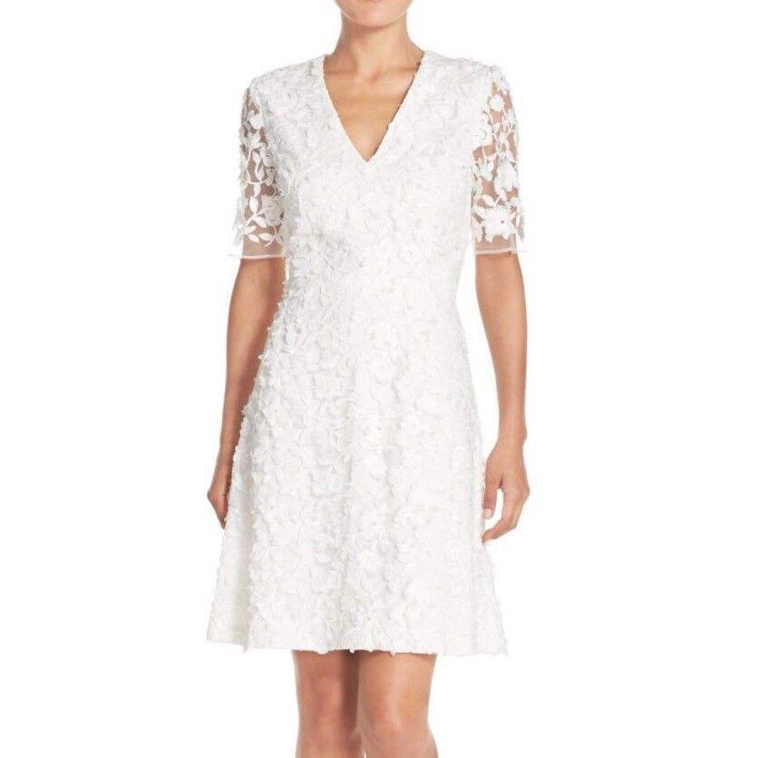 ADRIANNA PAPELL FLORAL LACE MESH APPLIQUE FIT & FLARE DRESS sz  10