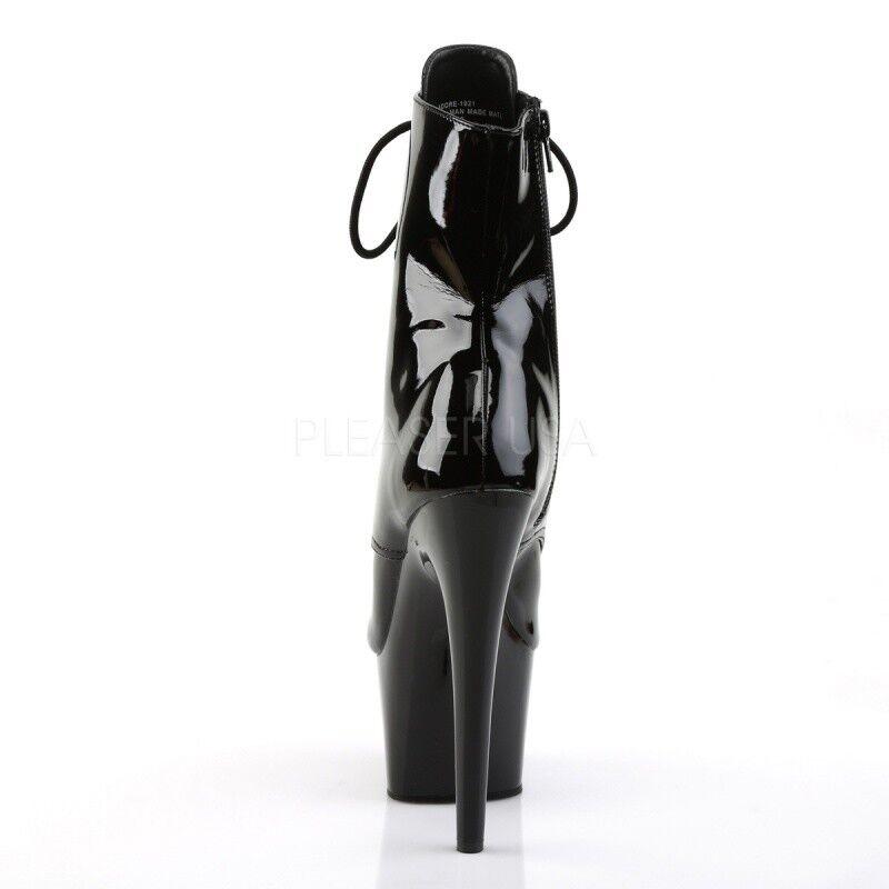 PLEASER ADORE1021 meseta extrema botines botines botines peep baile de mesa de laca negra. 8287f7