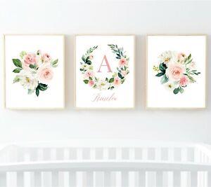 3 Rosa Oro Floral Corona Personalizado Monograma flores de vivero Impresiones Arte 614-A