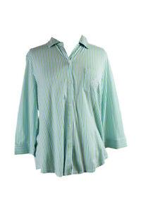Lauren Ralph Lauren Verde Blanco a Rayas con Cuello Pijama Camiseta XL