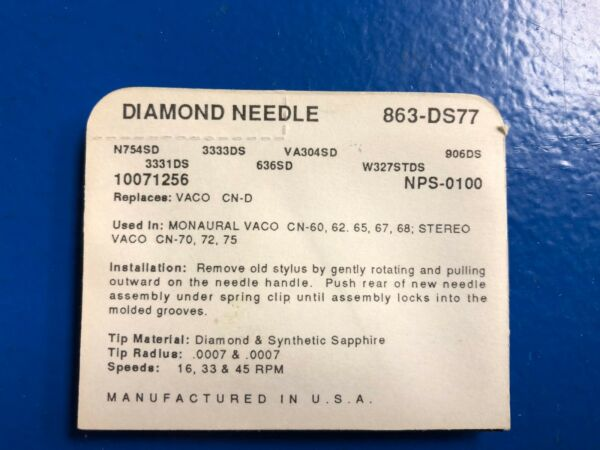 Vintage Nos Pfanstiehl Turntable Record Player Needle # 863-ds77