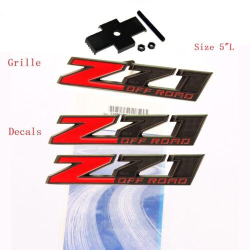Decals Emblem GM Silverado Tahoe Red LU 3x  OEM Matt Black Z71 OFF ROAD Grille