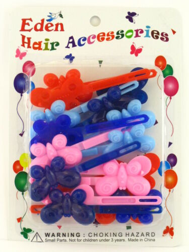58201 EDEN GIRLS SELF HINGE BUTTERFLY HAIR BARRETTES 18 PCS.