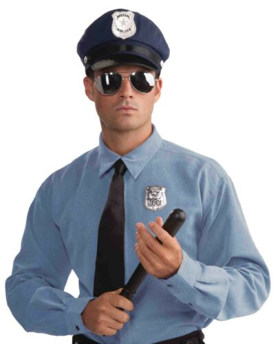ADULT POLICE OFFICER KIT HALLOWEEN COSTUME ACCESSORY HAT-GLASSES-BADGE-CLUB