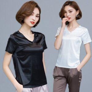 Mujer-Saten-Seda-COMO-Camiseta-manga-corta-cuello-en-039-V-039-Liso-pijama