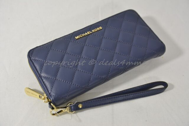 a9f30574ba223e Michael Kors Quilted Leather Continental Zip Around Wallet/Wristlet in Navy  Blue