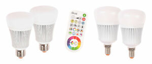 2er-RGB-LED-Illuminant-with-Remote-Control-Bulbs-Dimmable-Muller-Licht-Idual