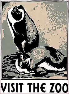 Visit the Zoo Penguin United States Vintage Travel Advertisement Poster Print