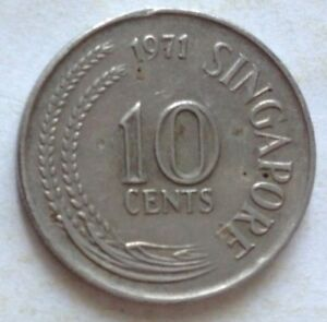 Singapore 1971 1st Series 10 cents coin