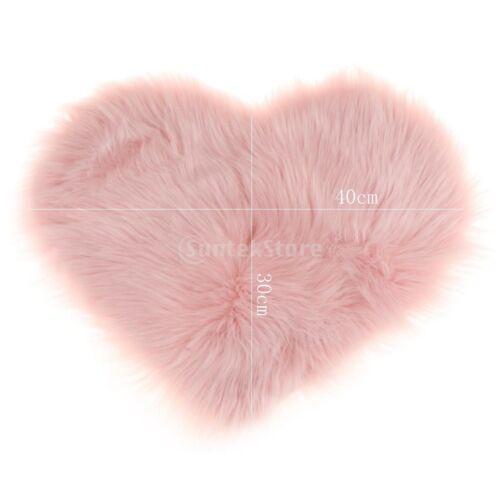 Heart Shape Shaggy Non Shed Sheepskin Area Rug Faux Fur Rug Sofa Cover Pink