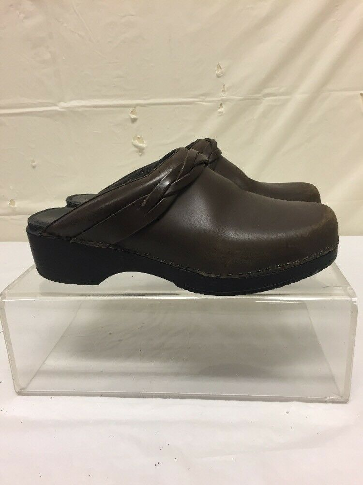 LL Bean femmes's marron Leather Slip On Clogs Taille 41 Mules Comfort