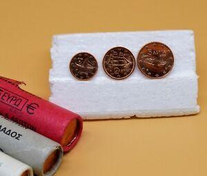 GRECE 2005 : 1 série de 3 pièces 1,2 et 5 cent de rouleaux