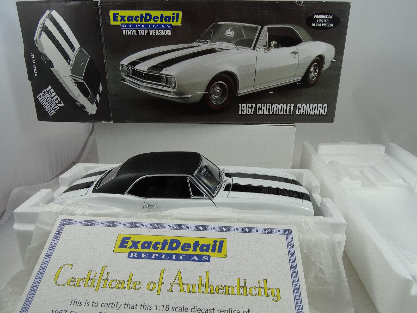 ecco l'ultimo 1 18 Exact Detail  223A Vinile Top 1967 1967 1967 Chevrolet Camaro Lmtd. 1 Of 250 Rarità  nelle promozioni dello stadio