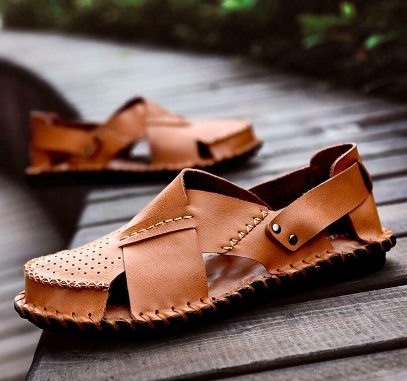 Mens Beach Sandals Leather Comfort Hollow out Flats British Style Casual shoes