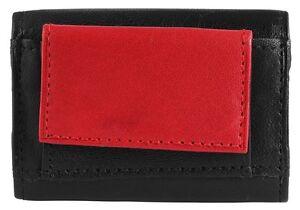 b4b970f060833 Das Bild wird geladen Echtleder-MIni-Geldboerse-9x6cm-Schwarz-Rot-Klein -Kompakt-