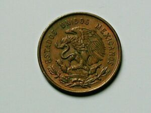 Mexico 1959 10 CENTAVOS Bronze Coin with Eagle Coat of Arms