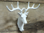 STAG COAT HOOK WHITE PAINTED CAST IRON DEER HEAD WITH ANTLERS SCARVES TOWEL ETC