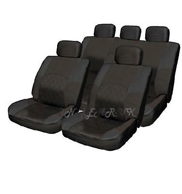 Deluxe Black Leather Look Pad 11pc Car Seat Cover Set Split Rear Seat Head Rests