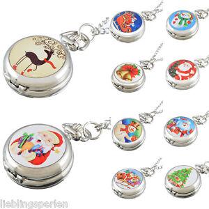 L-P-Kinder-Weihnachten-Uhr-Taschenuhr-Quarz-Halskette-Uhren-Silber-M16296