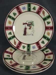 Pfaltzgraff-Snow-Bear-Salad-Snack-Plates-Lot-of-3-Stoneware-Potted-Plant-Winter