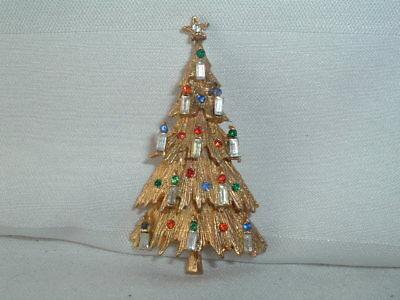 Jewelled Sparkling Enamel and Rhinestone Large Christmas Tree Brooch// Pin