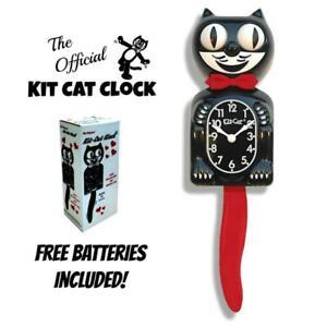 CRIMSON-ROYALE-Kit-Cat-CLOCK-15-5-034-Black-Red-Free-Battery-USA-MADE-Kit-Cat-Klock
