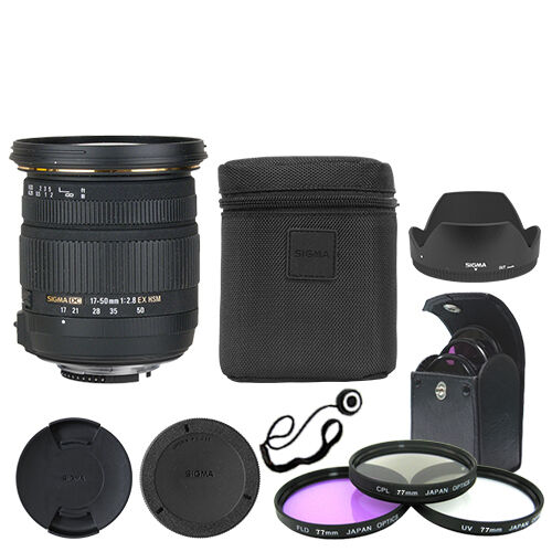Sigma 17-50mm f/2.8 EX DC OS HSM Zoom Lens for Nikon DSLR + Deluxe Accessory Kit