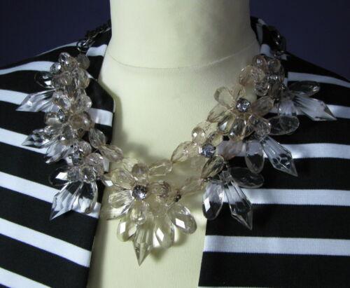 XL statement collar Collier Bib cristal óptica flor pedrería perla nuevo