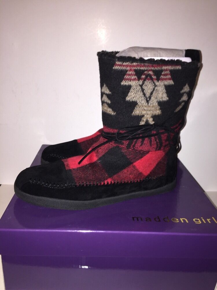 MADDEN GIRL Women's  JACKMEN  Boots BLACK MULTI Plaid Size 9M NEW BOXED Fall