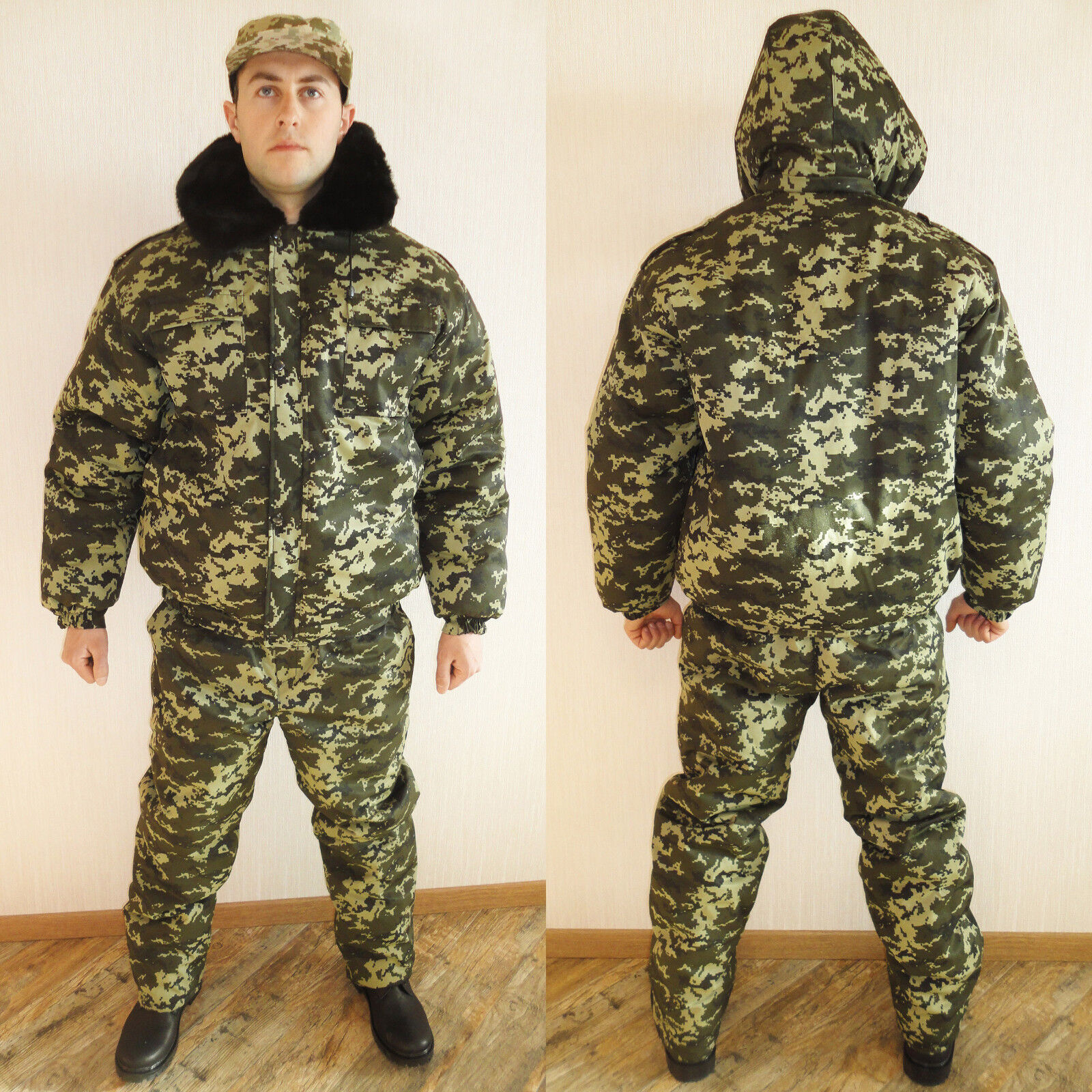 Winter Russian Ukrainian Military Digital  Camo Uniform Set BDU Suit XL   52  at cheap