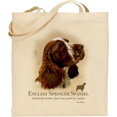 Red English Springer Spaniel Dog Breed H Robinson reusable cotton shopping bag