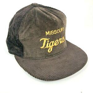 Vintage-University-Of-Missouri-Tigers-Velluto-a-Coste-Cappellino-Marrone-Giallo