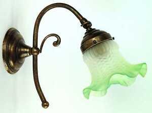 Applique lampada da parete in ottone con vetro verde ebay