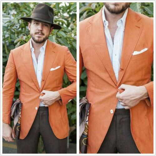 Orange Linen Men Suit Single-Breasted Blazer Jacket Coat Notch Lapel Custom Made