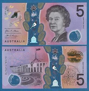 Australia 5 Dollars p-62 2016 UNC Banknote