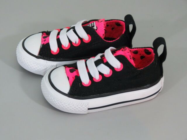 Girls Converse All Star Black and Neon Pink Size 2 NEW 1193a5524