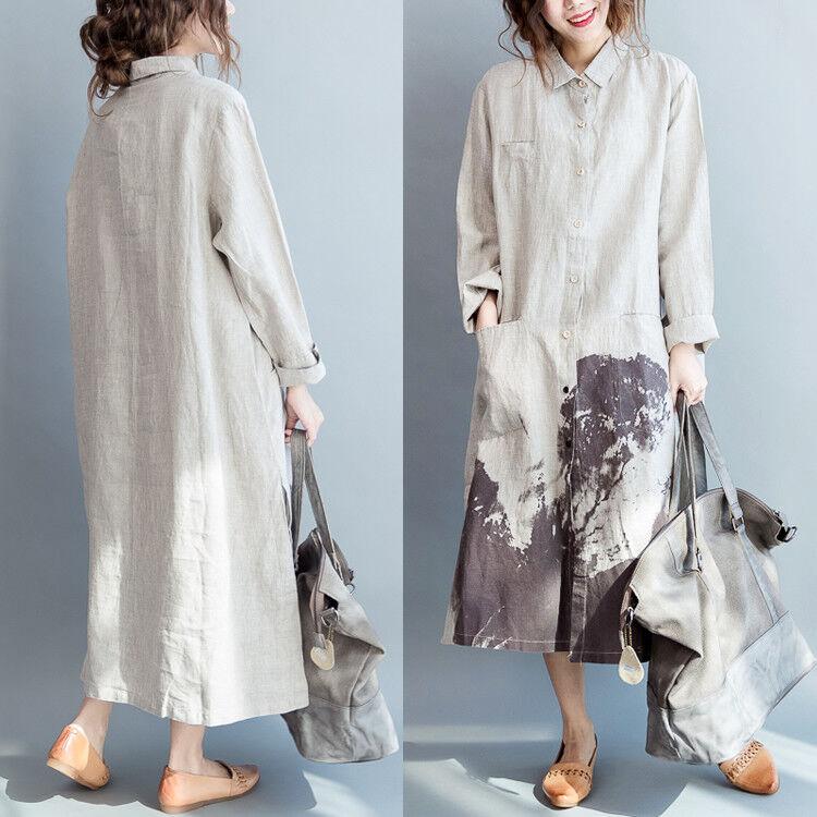 Retro Women Casual Loose Long Sleeve Cotton Linen Maxi Shirt Dress Kaftan Blouse