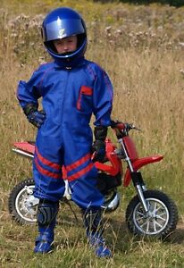 Kids-Pit-Crew-Speed-Demon-Motorcycle-Mechanic-Overalls-Blue-with-Red-Stripe-T