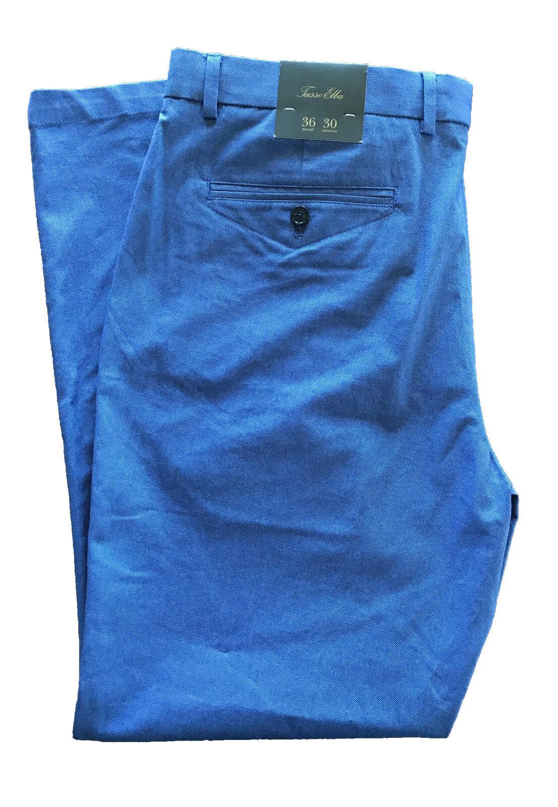Tasso Elba Mens bluee Classic-Fit Stretch Pants 36x30