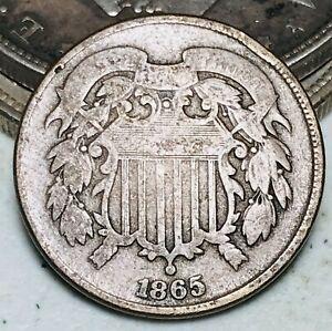 1865 Two Cent Piece 2C Ungraded Plain 5 Good Civil War Era US Copper Coin CC7118