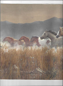WALLPAPER BORDER RUNNING WILD HORSES HORSE COUNTRY MOUNTAIN STAMPEDE NEW ARRIVAL